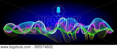Voice Recognition With A Microphone And Multi Coloured  Soundwaves - Illustration