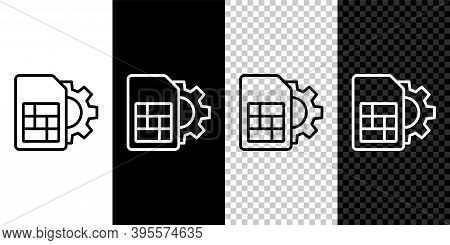 Set Line Sim Card Setting Icon Isolated On Black And White Background. Mobile Cellular Phone Sim Car