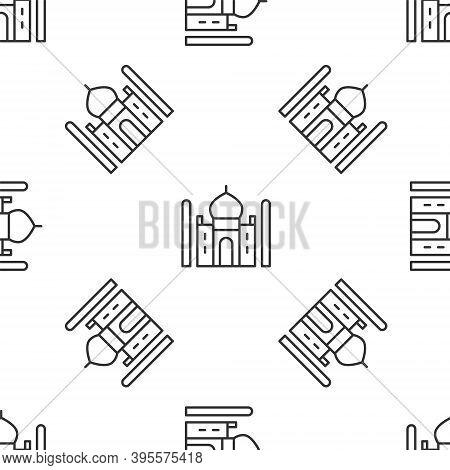 Grey Line Taj Mahal Mausoleum In Agra, Indiaicon Isolated Seamless Pattern On White Background. Vect