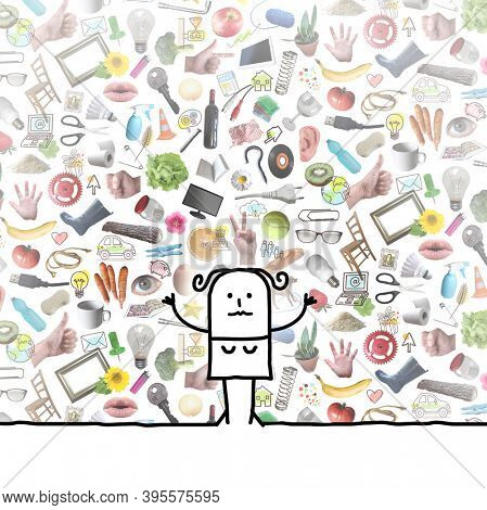 hand drawn Cartoon woman with collage of plenty colorful daily objects, photos and drawings