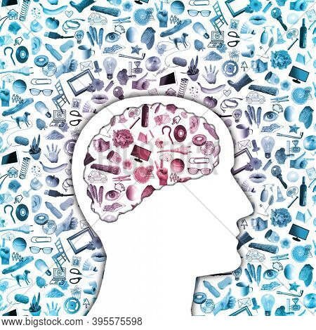 human profile with brain and collage of plenty daily objects, photos and drawings