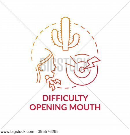 Difficulty Opening Mouth Concept Icon. Sore Throat Complication Idea Thin Line Illustration. Viral I