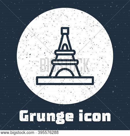 Grunge Line Eiffel Tower Icon Isolated On Grey Background. France Paris Landmark Symbol. Monochrome