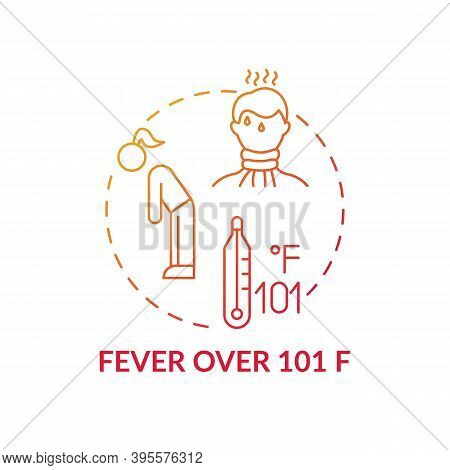 Fever Over 101 F Concept Icon. Sore Throat Complication Idea Thin Line Illustration. Sweating And He