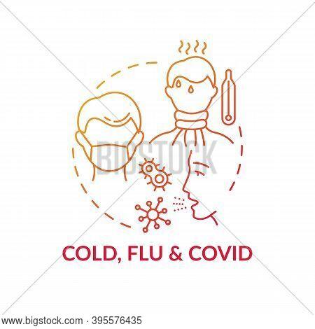 Cold, Flu And Covid Concept Icon. Contagious Respiratory Illness Idea Thin Line Illustration. Season