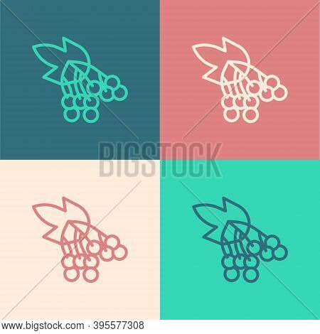 Pop Art Line Branch Viburnum Or Guelder Rose Icon Isolated On Color Background. Healthful Viburnum F