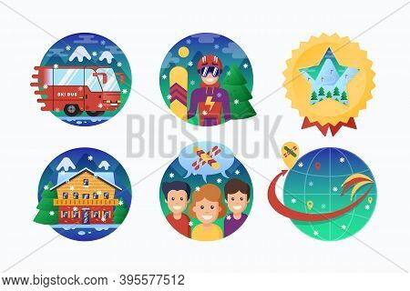 Ski Or Snowboard Resort Icons Collection. Vector Circle Banners Of Snowboarding Instructor, Ski Bus,