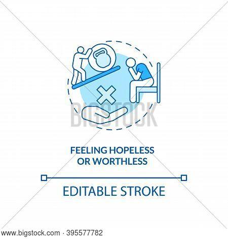 Feeling Hopeless And Worthless Concept Icon. Sad Symptom Idea Thin Line Illustration. Increased Pain