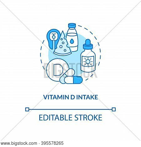 Vitamin D Intake Concept Icon. Sad Treatment Idea Thin Line Illustration. Supporting Strong Skeletal