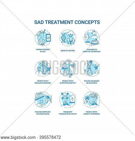 Sad Treatment Concept Icons Set. Mental Health Disorder Idea Thin Line Rgb Color Illustrations. Atte