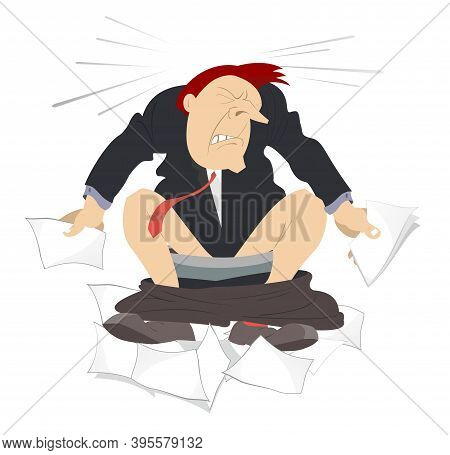 Man With Diarrhea Sitting In The Toilet Illustration. Man With Diarrhea (food Poisoning) Sitting In