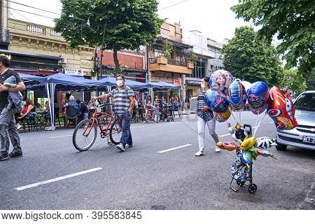 Buenos Aires / Argentina; Nov 14, 2020: People Walking On A Temporarily Pedestrianized Street To Fac