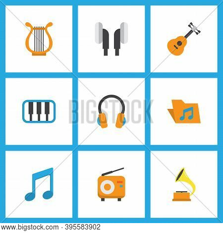 Audio Icons Flat Style Set With Synthesizer, Gramophone, Earpiece And Other Broadcasting Elements. I