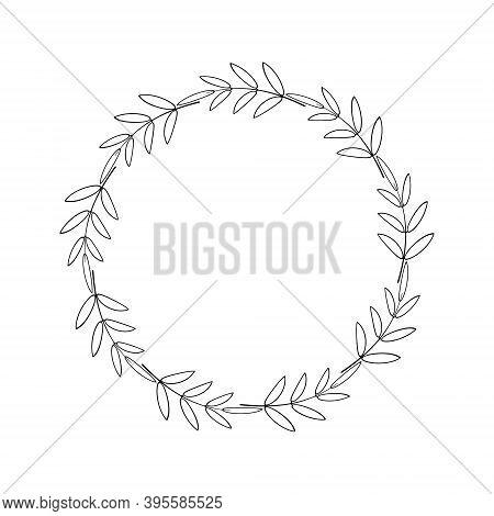 Simple Round Wreath With Contour Branches. A Border Of Black Leaves. Decorative Design Element. Laur