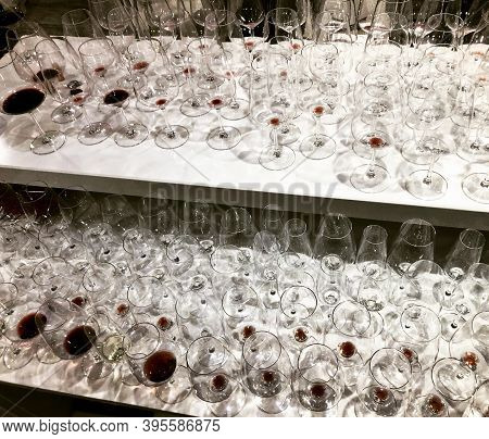 Many Dirty Wine Glasses After Big Party Stay