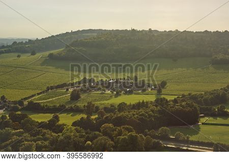 View Over Countryside From Box Hill On The North Downs At Dorking, Surrey, England With Denbies Vine