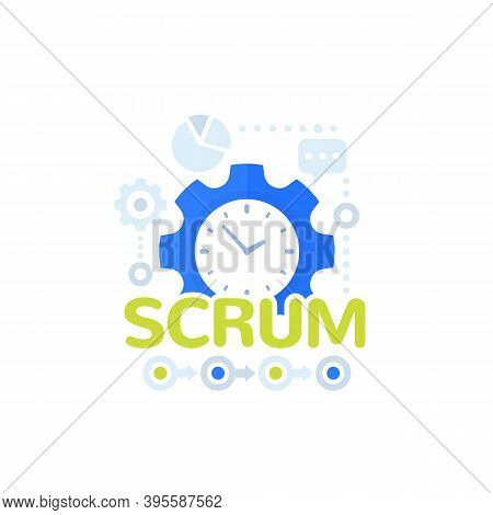 Scrum Process Framework Vector Icon, Eps 10 File, Easy To Edit