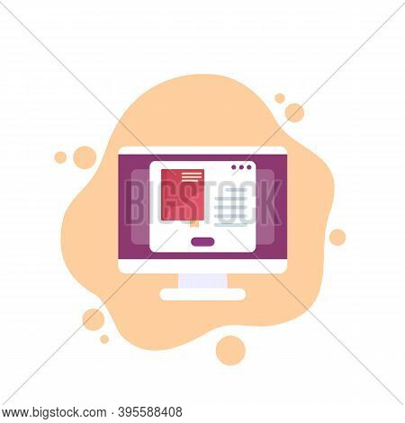 Ebook Or Electronic Library Vector Icon, Eps 10 File, Easy To Edit