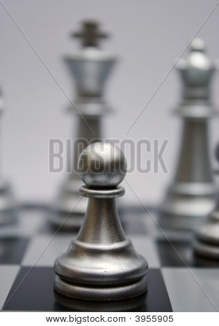 White Silver Chess Pawn
