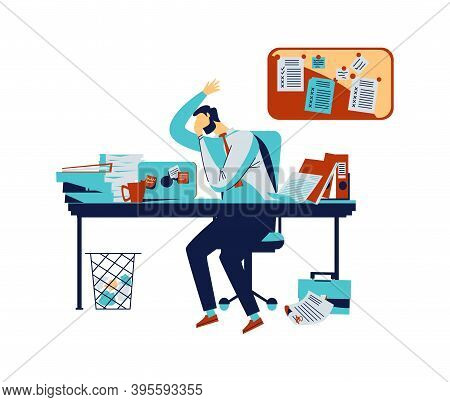 Default Or Collapse In Stock Market And Exchange Concept Vector Illustration. Businessman In Stress,