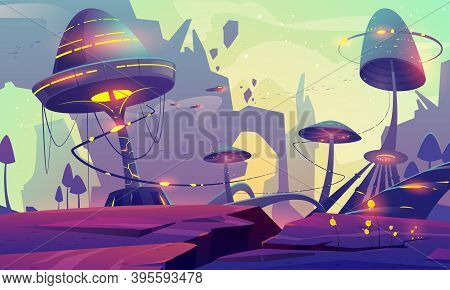 Alien Planet Landscape With Fantasy Mushrooms Trees Or Buildings And Rocks. Magical Unusual Nature F