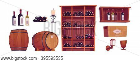 Wine Bottles And Barrels, Wooden Casks, Shelf, Rack And Box With Alcohol. Vector Cartoon Set Of Furn