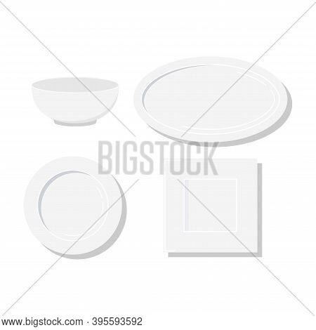 Empty White Plates Different Form Icon Set Isolated On White Background. Flat Design Classic Clean D