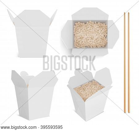 White Box With Rice And Chopsticks, Paper Packaging For Chinese Or Japanese Food. Vector Realistic M