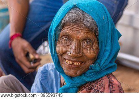 Chikkanayakanahalli, Karnataka, India - November 3, 2013: Closeup Portrait Of Senior Smiling Woman W