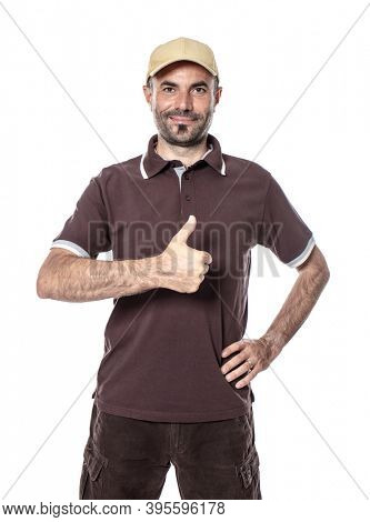 worker man courier shipping with thumb up and positive expression. isolated on white.