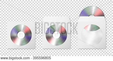 Vector 3d Realistic Blank Cd, Dvd And Paper Closed And Opened Envelope With Plastic Window, Cover Se