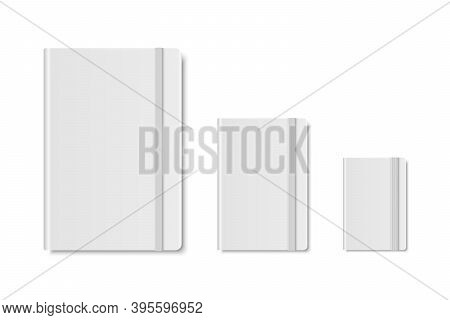 Vector 3d Realistic White Closed Blank Paper Notebook Set Isolated On White Background. A4, A5, A6,