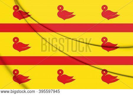 3d Flag Of Cuijk (north Brabant), Netherlands. 3d Illustration.