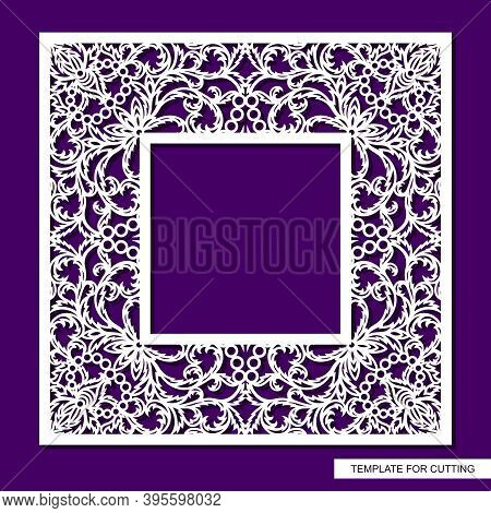 Beautiful Square Photo Frame. Lacy Floral Pattern Of Leaves. Oriental Ornament. Template For Plotter