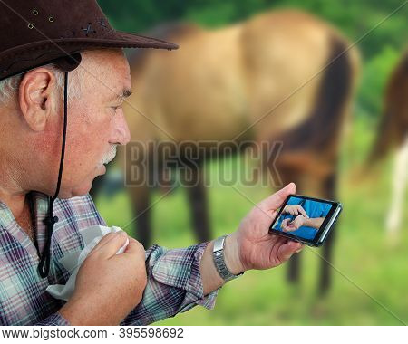 Telemedicine Physician Instructs An Old Rancher How To Measure His Pulse On The Wrist
