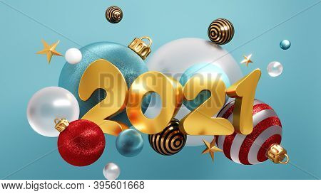 Happy New Year 2021 Background With Christmas Decorations 3d Rendering.