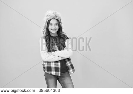 Kid Girl Wear Hat With Ear Flaps. Winter Vacation. Apply For International Exchange And Field School