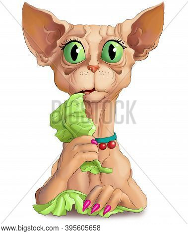 Illustration. Funny Vegetarian Sphinx Cat Chews Green Lettuce Leaves. Concept Of A Woman On A Strict