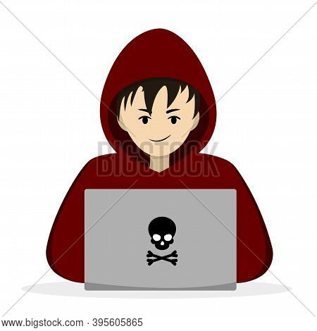 Hacker Behind A Laptop. Hacking Someone Elses Data. Vector Illustration