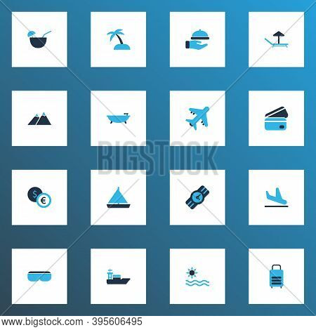 Trip Icons Colored Set With Bathroom, Ship, Sea And Other Vessel Elements. Isolated Illustration Tri