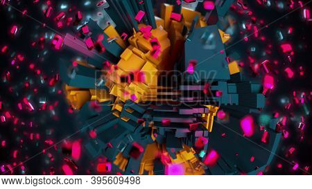 3d Render Technology Background. Complicated Abstract Sphere With Geometric Constructions Surrounded