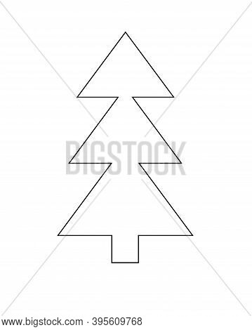 Christmas Tree - Vector Linear Picture For Coloring. Stylized Christmas Tree Or Pine - Raskraska Or