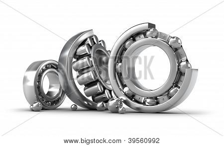 poster of Detailed bearings production over white background. 3d image