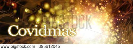 Golden Covidmas Sparkle Christmas Celebration Header - Big Ball Of Sparkles On A Dark Background Wit