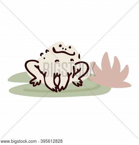 Cute Cartoon Jumping Frog On Pond Lily Pad Flower Lineart Vector Illustration. Simple Amphibian Stic