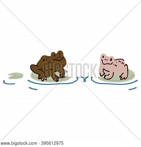 Cute Cartoon Two Frogs On Pond Lily Pad Lineart Vector Illustration. Simple Amphibian Sticker Clipar