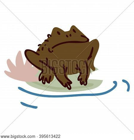 Cute Cartoon Frog On Pond Lily Flower Lineart Vector Illustration. Simple Amphibian Sticker Clipart.