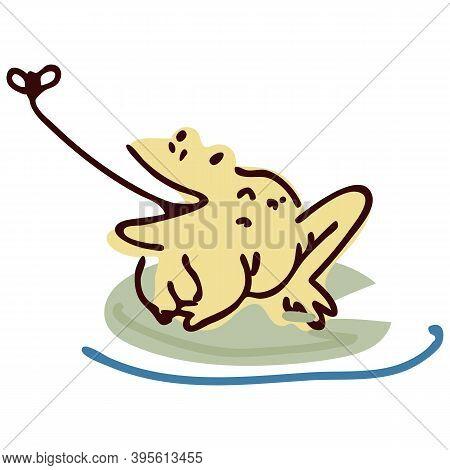 Cute Cartoon Frog Hunting Fly Lineart Vector Illustration. Simple Amphibian Sticker Clipart. Kids La