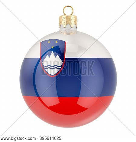 Christmas Ball With Slovenian Flag, 3d Rendering Isolated On White Background