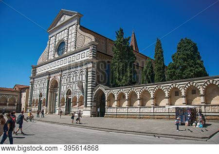 Florence, Italy - May 14, 2013. View Of The Facade In Many Types Of Marbles From The Santa Maria Nov